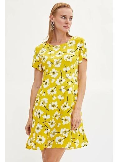 DeFacto Çiçekli Dokuma Elbise Sarı